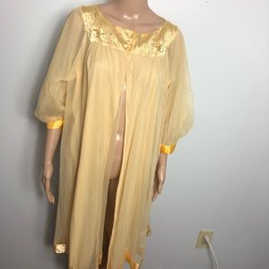 Vintage yellow Chiffon and satin trimmed